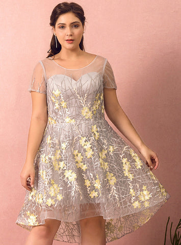Plus Size Gray Hi Lo Short Sleeve Embroidery Appliques Prom Dress