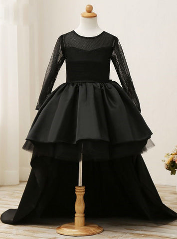 High Low Scoop Long Sleeves Floor Length Fashion 2017 Black Flower Girl Dresses
