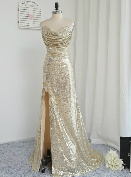 2017 Mermaid Sweetheart Fitted Light Gold Sexy High Split Prom Dresses