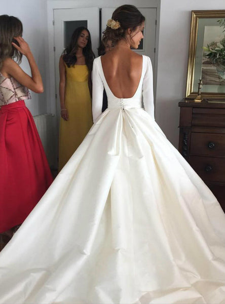 Ball Gown Wedding Dresses with Pockets 2017 Long Sleeves Satin