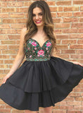 A-Line Black Satin Sweetheart Embroidery Short Homecoming Dress