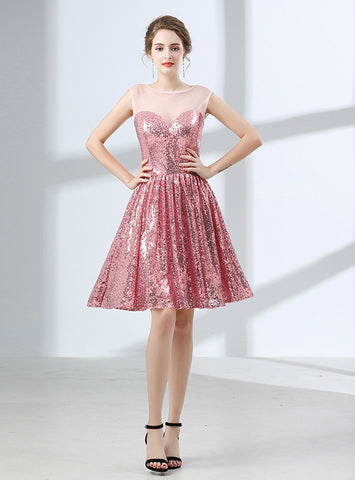 A-Line Pink Knee Length Sleeveless Sequins Homecoming Dress
