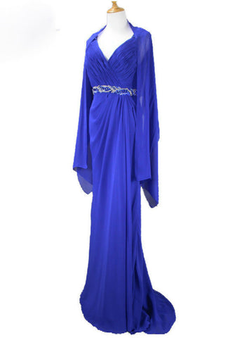 Chiffon Royal Blue 2017 Elegant Open Back With Shawl V-neck Beaded