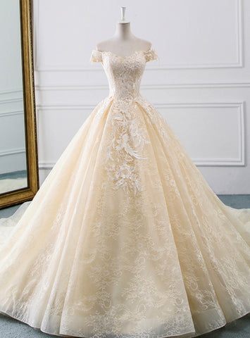 New arrivals Champagne Tulle Lace Appliques Wedding Dress With Train