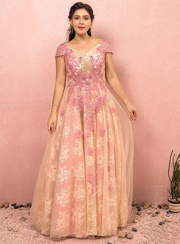 Plus Size A-Line Pink Lace Appliques Backless Prom Dress