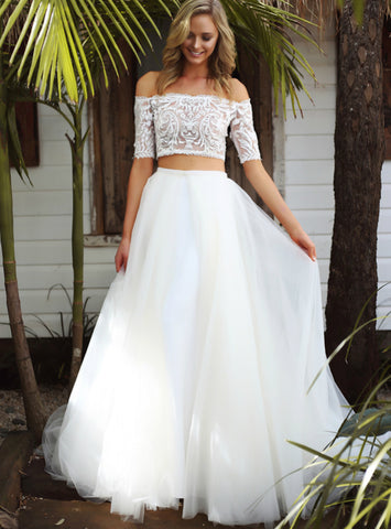 Stunning Boat Neck Half Sleeve Elegant New Fashion Bridal Gowns