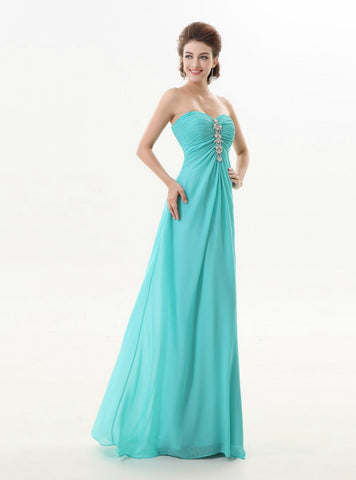 Romantic A Line Blue Chiffon Long Sweetheart Bridesmaid Dress