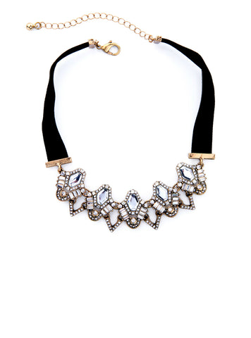 Maxi Necklace Velvet Luxury Crystal Collar Choker Necklace