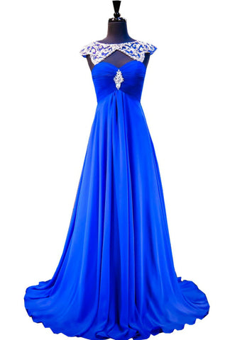 Fabulous A-line Beaded Crystals Royal Blue Pleats Chiffon Prom Dress