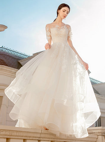 Champagne Ball Gown Tulle Lace Appliques Short Sleeve Wedding Dress
