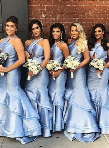 Sexy Blue Mermaid Halter Satin Keyhole Long Bridesmaid Dress