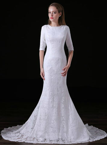 Simple White Mermaid Lace Half Sleeve Long Wedding Dress