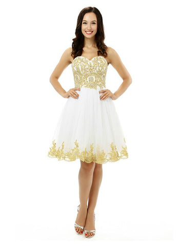 White Tulle Gold Appliques Sweetheart Short Homecoming Dress