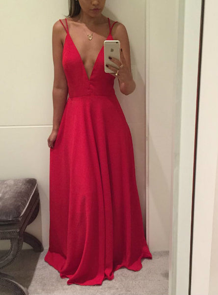Wonderful Long A line Semi Formal Gowns Sexy Backless Deep V neck Prom Dresses