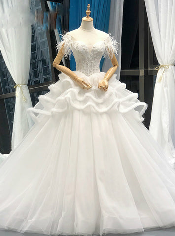 High quality White Ball Gown Corset Tulle Off The Shoulder Wedding Dress