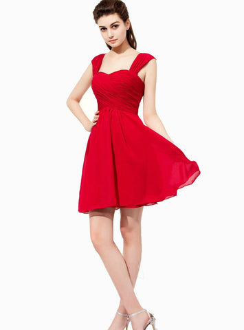 Red Sweetheart Chiffon Backless Pleats Short Bridesmaid Dress