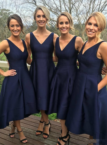 A-line V-neck Navy Blue High Low Bridesmaid Dress Short Bridesmaid Dress