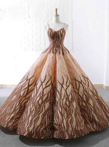 Vintage Ball Gown Spaghetti Straps Floor Length Wedding Dress With Pearls