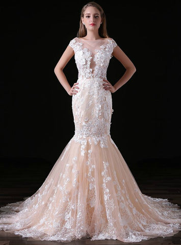 Champagne Mermaid Bateau Lace Appliques Cap Sleeve Backless Wedding Dress