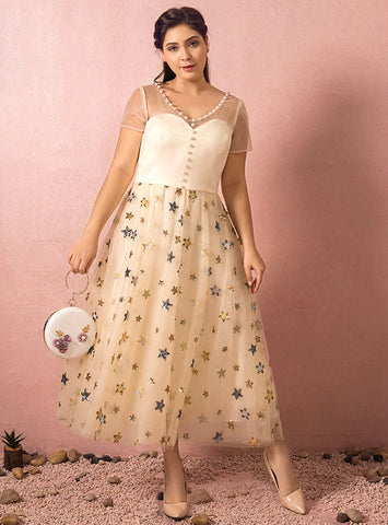 Plus Size Yellow Tea Length Sequin Star Tulle Short Sleeve Prom Dress