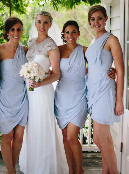 Simple Sky Blue Chiffon One Shoulder Sleeveless Bridesmaid Dresses