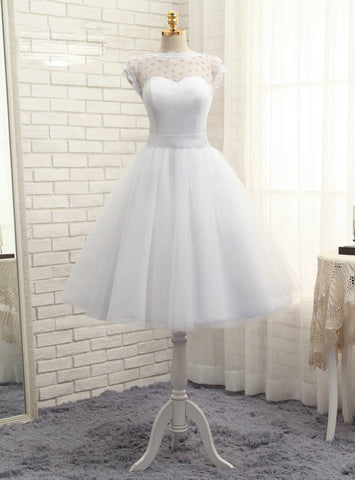 Wonderful Short Wedding Dresses A-line Tea Length Tulle Crystals Bow Backless