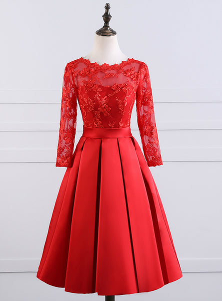 Luxurious Sexy Backless Red Short Evening Dress 2017 New Elegant Boat Neck