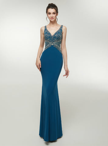 Blue Satin Mermaid Deep V-neck Sleeveless Lace Back Prom Dress