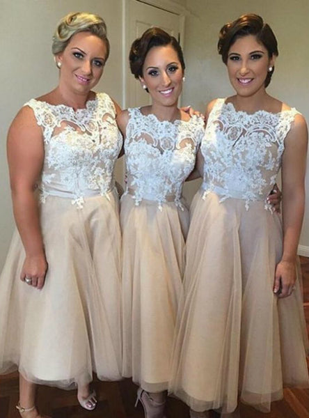 Latest Champagne short bridesmaid dress