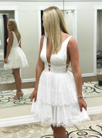 Fairy Tale A-line V-neck Short White Lace Homecoming Dress
