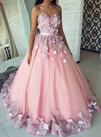 Pink Ball Gown Tulle Appliques Sweetheart Floor Length Sweet 16 Prom Dresses