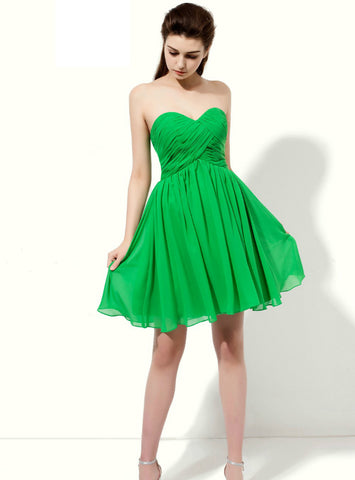 Green Sweetheart Neck Backless With Pleats Short Bridesmaid Dress