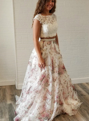 A-Line Two Piece White Lace Floral Print Backless Prom Dress