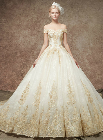Stunning Champgne Tulle Appliques Off The Shoulder Wedding Dress