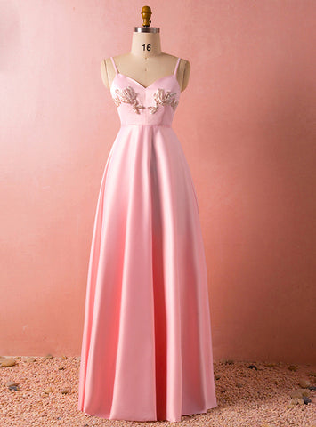 Plus Size Simple A-Line Pink Spaghetti Straps Satin Backless Prom Dress