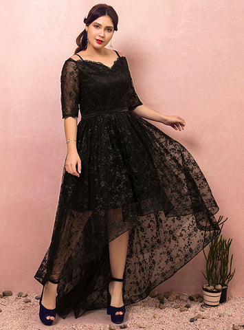 Plus Size Black Lace Hi lo Spaghetti Straps Short Sleeve Prom Dress