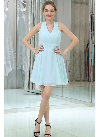 Light Blue Chiffon Cocktail With Cross Back Short Homecoming Dress