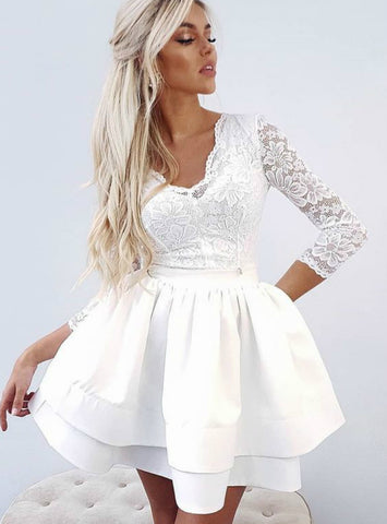 A Line White Lace V Neck Backless Long Sleeve Homecoming Dresses