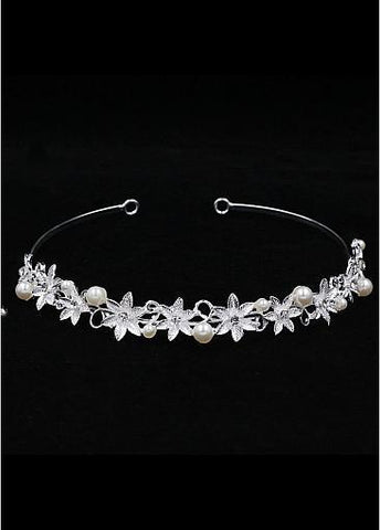 Cheap Chic Alloy Wedding Tiara With Rhinestones & Pearls