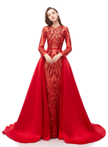 Red Mermaid Sequins Long Sleeve Long Prom Dress With Removable Train