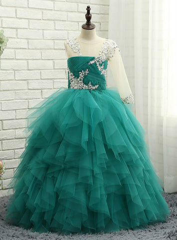 Wedding Party Dresses 2017 Ball Gown Flower Girl Dresses Jade Green