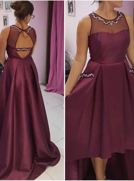 Delicate High Low Satin Long Prom Dresses with Pockets Beaded Illusion Neck Backless