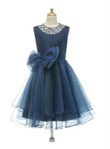 2017 Floor Length Flower Girl Dress Beadings Bow Organza