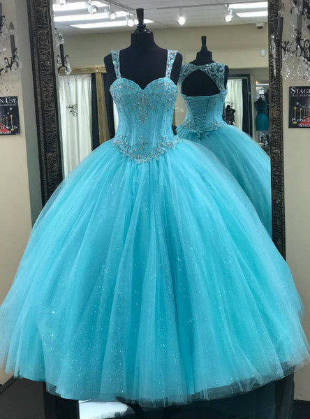 Fashion Bling Tulle Beaded Sweetheart Bodice Corset Quinceanera Dresses