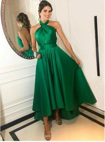 Simple Green Hi Lo Satin Halter Backless Pleats Long Prom Dress