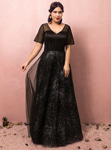 Plus Size Black Short Sleeve V-neck Floor Length Prom Dress