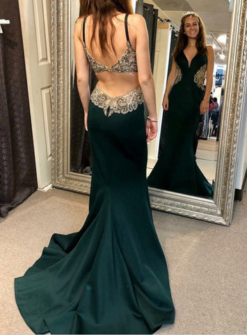 V-neck Backless Green Satin Long Prom Dress With Appliques Beading