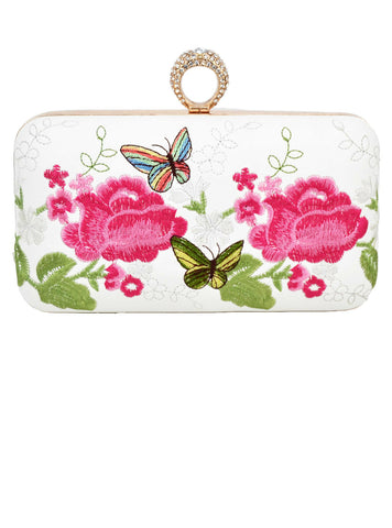 Party Prom Purse embroidery Flower Clutch Bag finger ring Crystal Evening Bag White