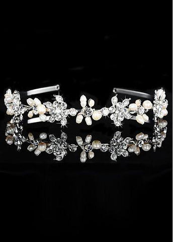 Fashionable Silver-plated Alloy Tiara With Rhinestones & Pearls