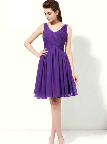 A-Line Purple Chiffon V-neck Backless Knee Length Bridesmaid Dress